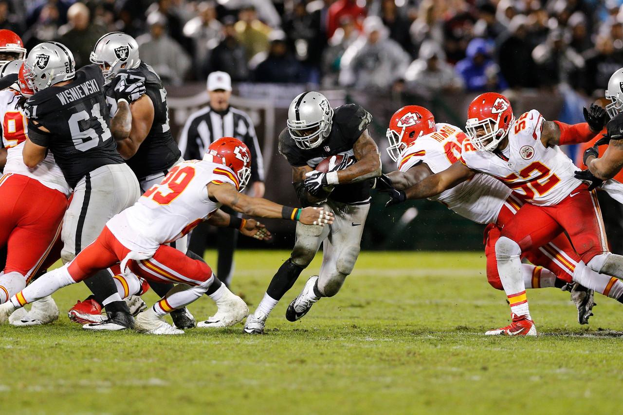 Latavius Murray v akci. Running back s číslem 28 dovedl svůj tým dvěma touchdowny k vítězství.Foto: NFL.com