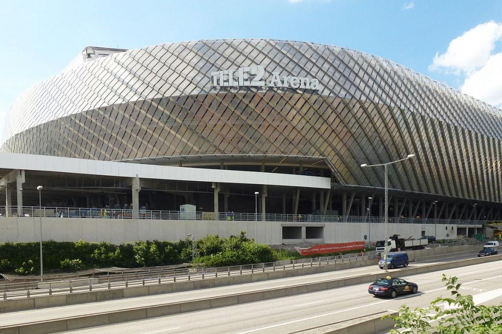 Zde se hrát bohužel nebude. Švédsko pro problémy s financemi muselo své pořadatelství MS 2015 zrušit. Stockholmská Tele2 Arena je tak v srpnu volná. Zdroj: wikimedia.org