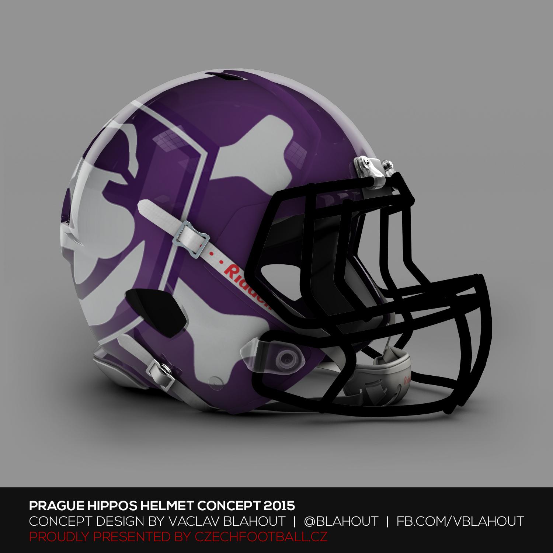 Fialovou můžu a u hrochů se nabízelo využít jejich logo jako základ pro celý koncept. Až někdo bude dobíhat hráče s touhle helmou, třeba si to rovnou rozmyslí.